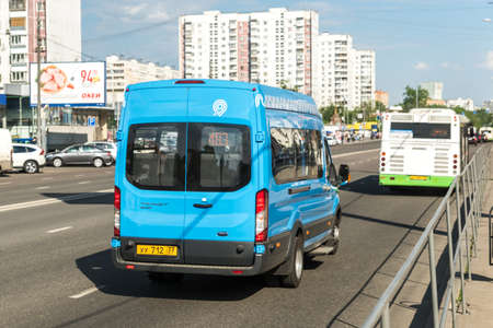 Modern Moscow transport - microbus. The brand of Moscow transport. Small commercial buses