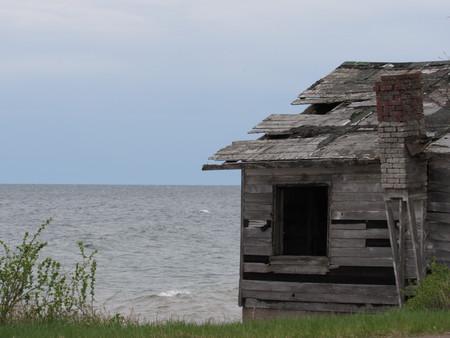 Empty house on the lake Stock Photo