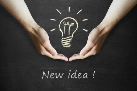Ideas Light Bulb Concept Work on Blackboard. Bulbs set figures of the childrens designer Stok Fotoğraf