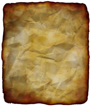 archaeological: sheet of crumpled old paper on white background Stock Photo
