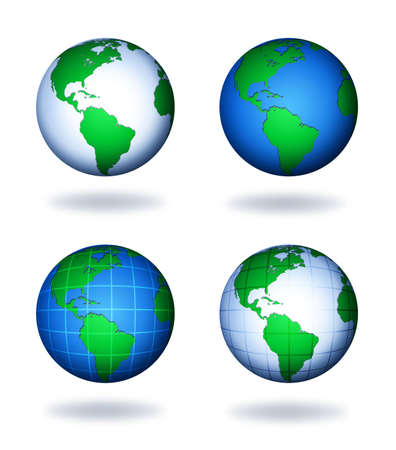 four variants of earth globes for your design photo