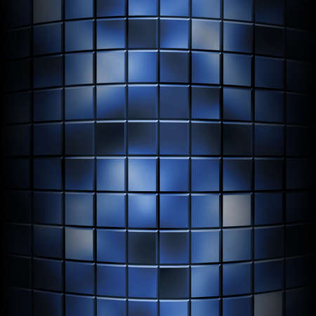 distortion: abstract curved background of blue blocks