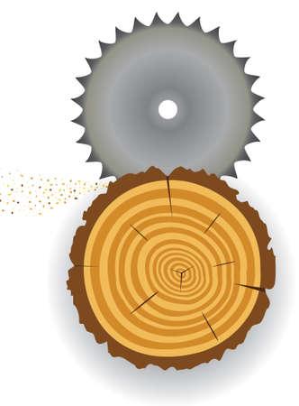 cut logs: vector de corte de madera clip-art Vectores