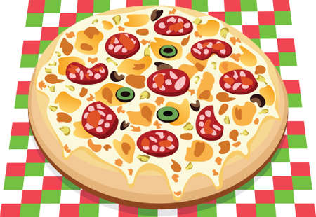 italian sausage: vector pizza with different ingredients