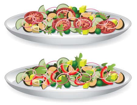 vector illustratie van een heerlijke salade  Vector Illustratie
