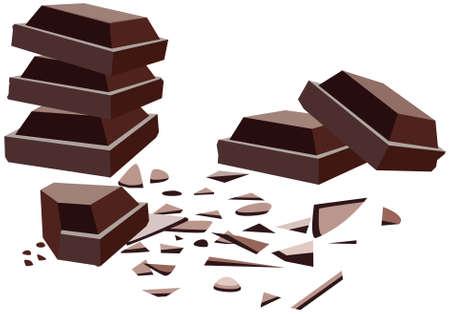 miettes: vecteur de barres de chocolat avec chapelure  Illustration