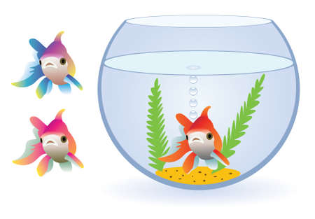 vector aquarium and three fishes Stock Vector - 5751629