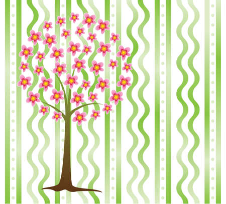 vector tree in blossom and on a background Vector