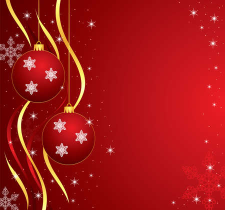 holiday illustration with balls, ribbons, stars and snowflakes Vector