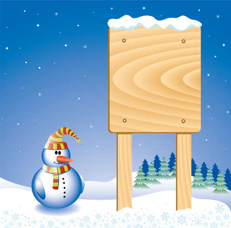 design with snowman and message board Stock Vector - 5755661