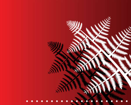vector fern leaves on red background Vector