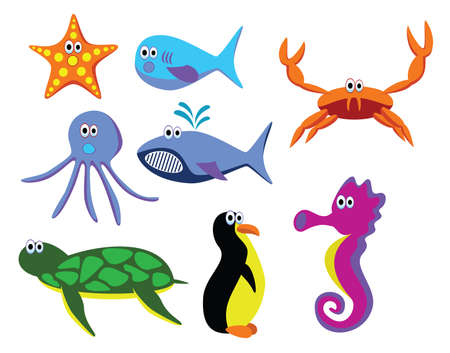 vector sea animals starfish, fish, crab, octopus, sea horse, turtle and penguin Stock Vector - 5774948