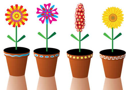four vector flowers in pots