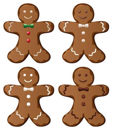 lebkuchen: Abbildung von vier Vektor-Lebkuchen-cookies
