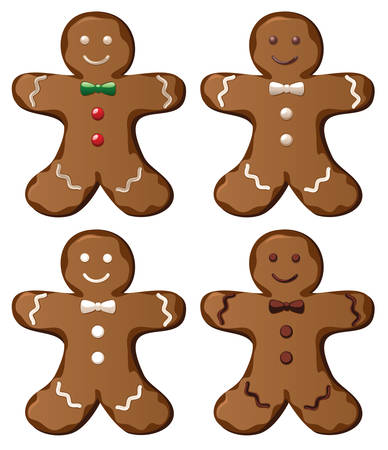 illustration of four vector gingerbread cookies Vector