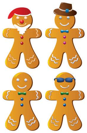 holiday cookies: las cookies de pan de jengibre de vectores