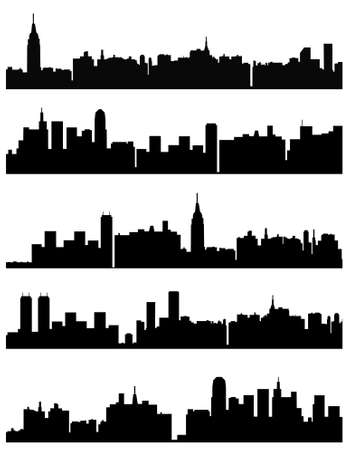 five variants of vector city background Vector