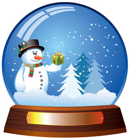 snowman wood: vector snow globe with snowman Illustration