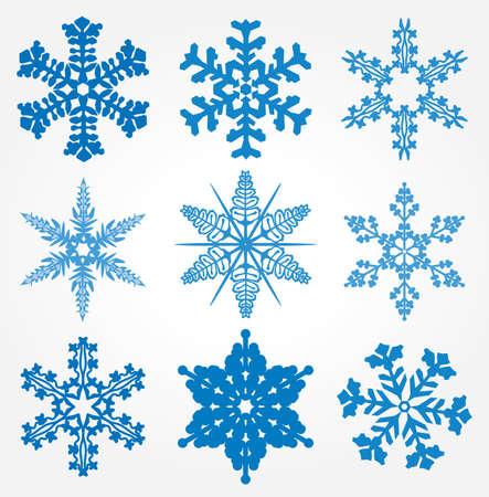 snow flakes: collectie van 9 sneeuwvlokken Stock Illustratie
