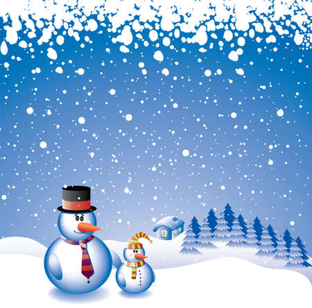vector design with two snowmen Stock Vector - 5966309