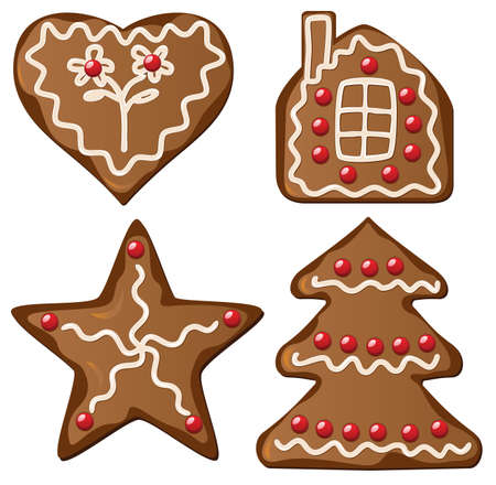 illustration of four gingerbread decorated cookies    Vector