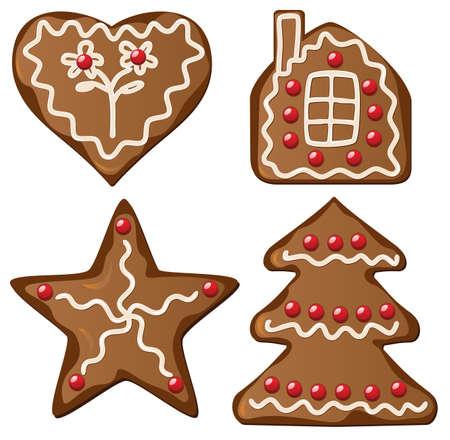 holiday cookies: Ilustraci�n de pan de jengibre cuatro decorado cookies