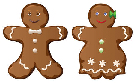home baked: two gingerbread cookies of man and woman Illustration