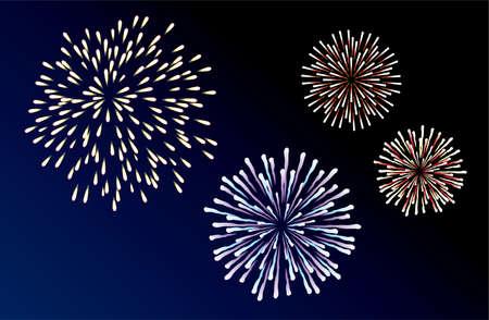 easily: vector fireworks background of easily rearranged elements  Illustration