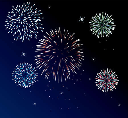 fireworks on white background: vector fireworks background of easily rearranged elements  Illustration
