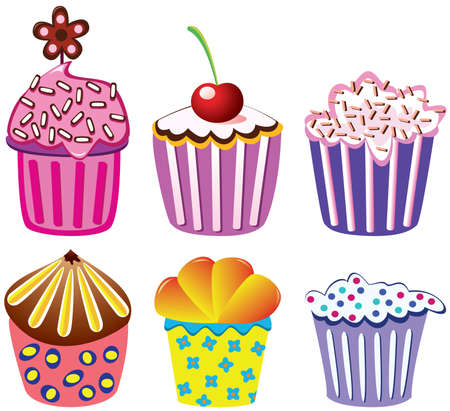 filling line: various vector cupcakes set can be edited to your taste