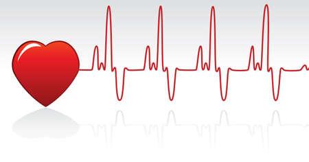 battement du coeur: vecteur de coeur rouge et heartbeat  Illustration