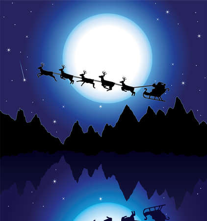 holiday background with santa, mountains and icy lake Vector