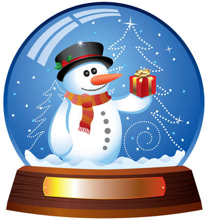 snowman wood: vector snow globe with snowman