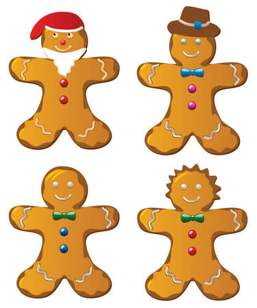 Illustration of four  gingerbread cookies Vector
