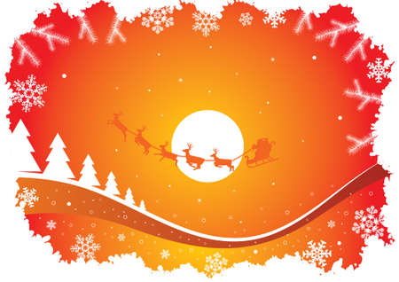 orange sky: holiday background with many different elements Illustration