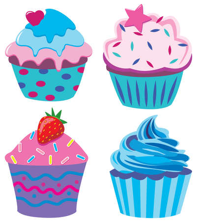 cupcake illustration: four cupcakes with heart, star and strawberry
