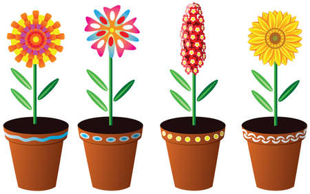 four flowers in pots Stock Vector - 5978503