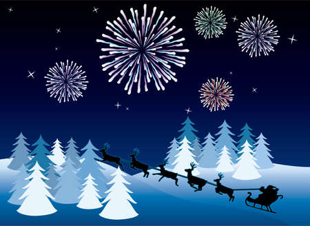 holiday background with santa, deers and fireworks Vector