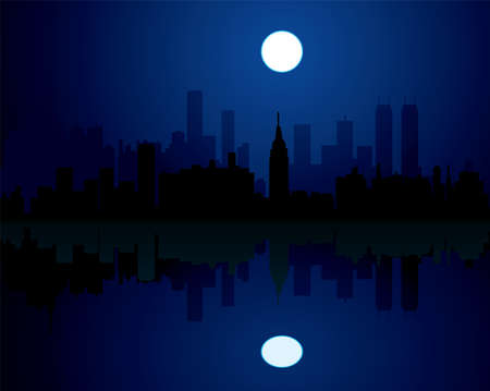 highrise: vector city at night background Illustration