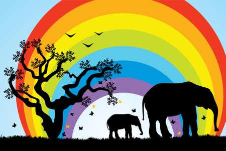 tree, elephants and rainbow illustration Stock Vector - 6175353