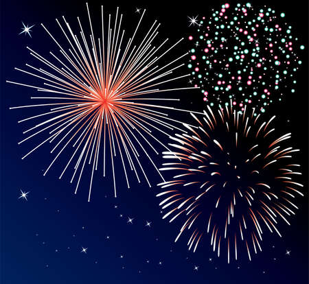 background with three types of fireworks Vector