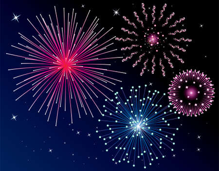 fireworks background. Four types.  Vector