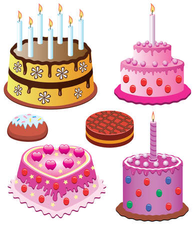 vector sweet cakes set for birthday and valentine day Vector
