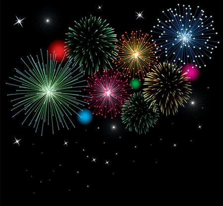 fuegos artificiales: Fondo de fuegos artificiales de vector con estrellas y luces Vectores