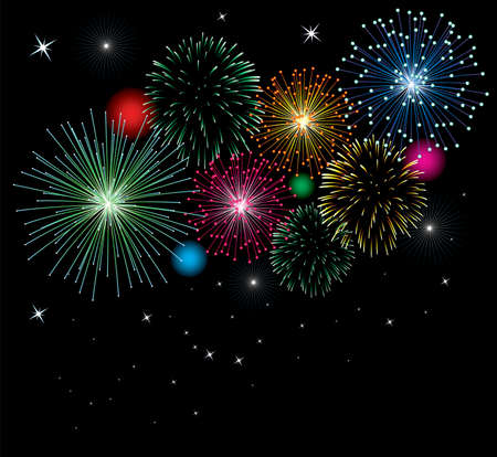 feu d artifice: vector fireworks background with stars and lights