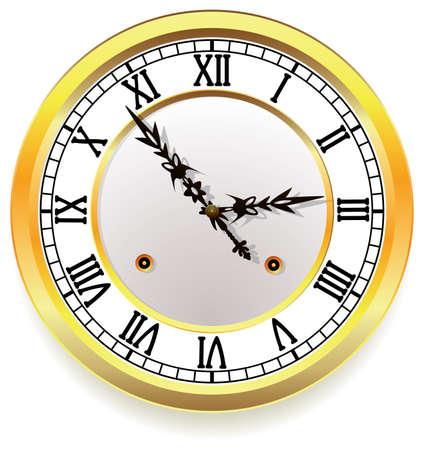 dials: vector golden clock. retro style