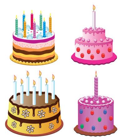 torte compleanno: torte di compleanno vettoriale con candele di masterizzazione