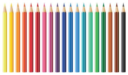 nineteen: diciannove vettoriale matite colorate  Vettoriali