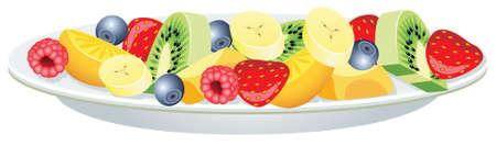 vector fruitsalade op een plaat