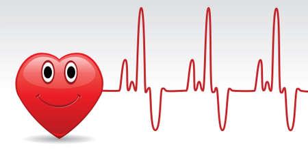 hjärtslag: vector happy heart and heartbeat